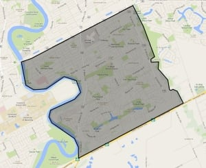 city map of affected area of southeast Winnipeg