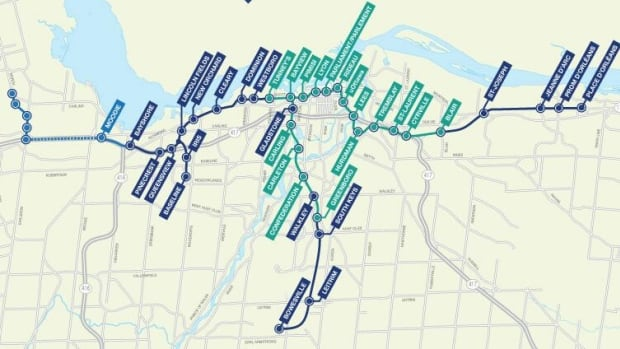 "This map shows the new stations, track, roads and paths involved in stage two of Ottawa's transportation master plan. Not pictured is the ""spur"" that would attach the southern line to the Macdonald-Cartier International Airport, an idea that is still up for discussion."