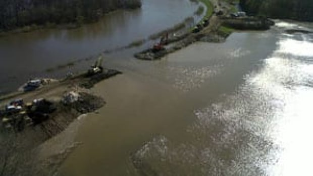 An aerial shot from 2011 of the controlled spill point at the Hoop and Holler Bend to take pressure off the Assiniboine River dikes. Sandy Bay First Nation officials are suing the federal and provincial governments over flood damage the community took on after the controlled spill.