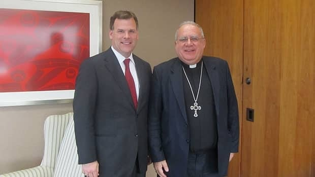 Foreign Affairs Minister John Baird, left, meets with the Apostolic Papal Nuncio to Canada, Archbishop Pedro López Quintana, to discuss protection for religious minorities and a proposed Office of Religious Freedom during a visit to the Holy See in Rome, July, 2011.