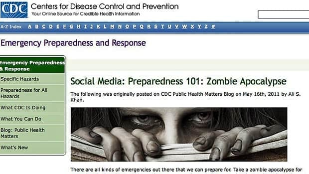 A public health doctor looking for a way to sex up an old message about emergency preparedness this week tried something eerie, a zombie warning that sparked an internet frenzy.