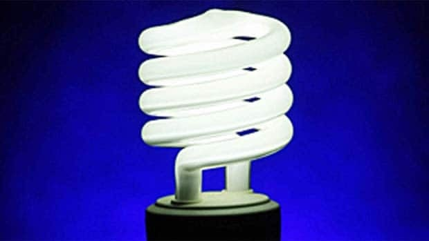 The curly CFL bulb contains trace amounts of mercury, making it unsafe to dispose of in household garbage.