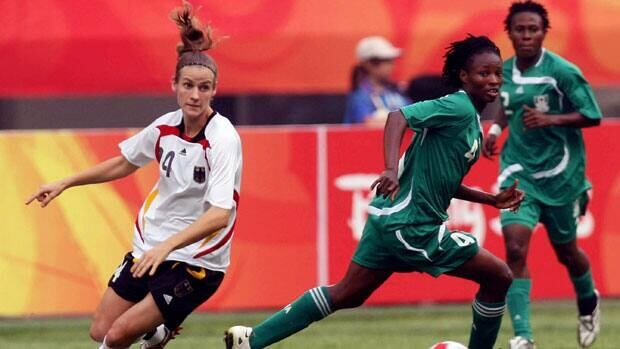 Veteran forward Perpetua Nkwocha, middle, will be a key player for Nigeria at the FIFA Women's World Cup.