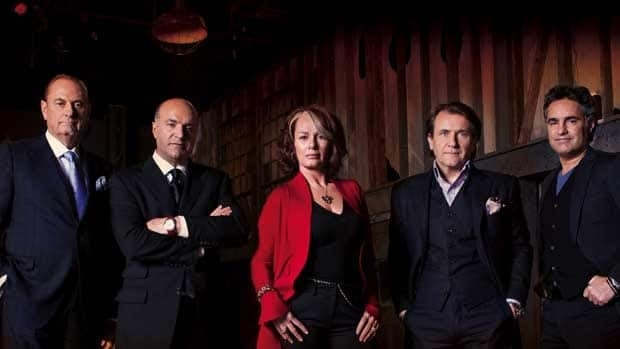 The cast of CBC's Dragons' Den will participate in a live chat on Oct. 19 from 2 - 3 p.m. ET. The cast includes, from left, Jim Treliving, Kevin O'Leary, Arlene Dickinson, Robert Herjavec and Bruce Croxon. (CBC)