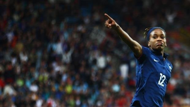 Elodie Thomis of France celebrates after scoring against Canada on Thursday.