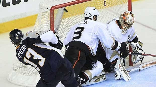 Nick Spaling of Nashville sets to put his second goal of the game behind Anaheim goalie Ray Emery Sunday at Bridgestone Arena.
