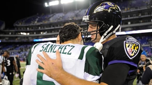 Ravens quarterback Joe Flacco, right, greet counterpart Mark Sanchez, left, of the Jets after Baltimore overwhelmed New York in Week 4.