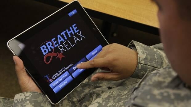 Several apps, mainly created by the Pentagon and Foreign Affairs, were created to help calm soldiers and veterans suffering from post-traumatic stress disorder or traumatic brain injury.