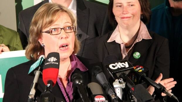 Green Party Leader Elizabeth May unveils the Green Party election platform during a campaign stop in Toronto Thursday, April 7, 2011.