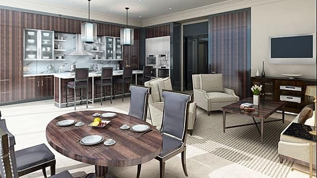 An artist's impression suggests what the kitchen and dining area will look like inside the record-setting condo.