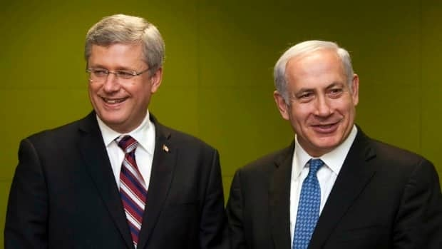 Prime Minister Stephen Harper met Israel's Prime Minister Benjamin Netanyahu at the United Nations Wednesday, to show his support for Israel in blocking a Palestinian bid for statehood at the UN.