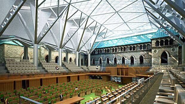 An architect's rendering of the interior of the glass-domed temporary House of Commons chamber. The $42-million project is to be completed by 2018.