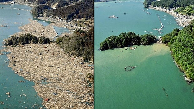 Two photos show the same coast in northeastern Japan on March 12, 2011, before and after a devastating earthquake and tsunami hit the area. About 18 million tonnes of debris from the disasters are projected to float onto the B.C. coast by 2014.