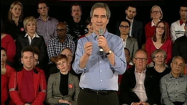 Liberal Leader Michael Ignatieff conducts a town hall to announce his party's $8-billion platform. CBC