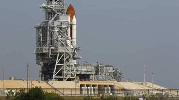 The space shuttle Endeavour sits on launch pad 39A at the Kennedy Space Center in Cape Canaveral, Fla., on Sunday.