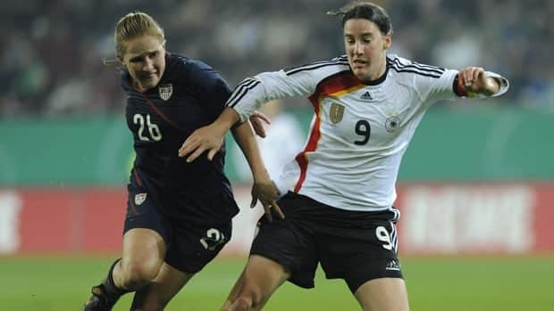 German forward Birgit Prinz, right, is the all-time leading scorer at the FIFA Women's World Cup with 14 goals.