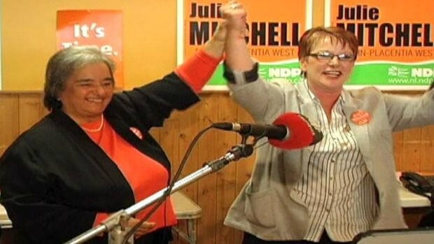 NDP Leader Lorraine Michael and candidate Julie Mitchell in Marystown on Sept. 23, weeks before the 2011 provincial election.