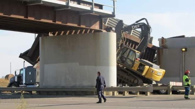 The collapse of this railway overpass forced the closure of Highway 16 in Lloydminster, Sask.