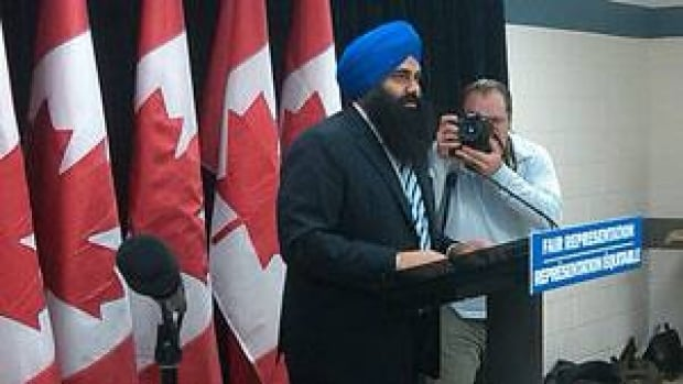 Tim Uppal, minister of state for democratic reform, announces the federal government's proposed Fair Representation Act in Brampton, Ont. Thursday.