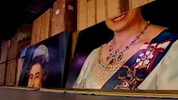 The five-by-seven metre portrait of Queen Elizabeth II sits in pieces in a storage facility in Whitby, Ont.