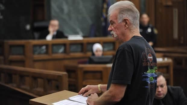 Florida pastor Terry Jones makes a statement to the jury Friday in the 19th District Dearborn Court during a hearing in front of Judge Mark Somers about Jones's right to protest in Dearborn, Mich.