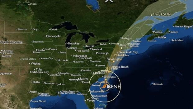 Hurricane Irene's track as of Friday evening.