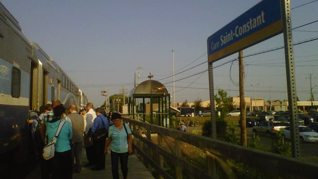 Commuters wait for the train to Montreal in Saint-Constant, on the South Shore.