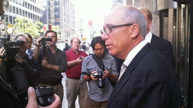 Edmonton Mayor Stephen Mandel speaks to the media Tuesday before heading into a meeting with NHL Commissioner Gary Bettman at NHL headquarters in New York City.
