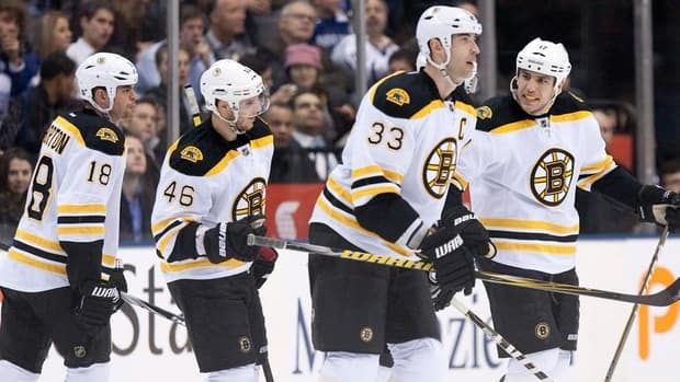 Boston Bruins' Zdeno Chara (centre right) is congratulated by Milan Lucic (right) after scoring his team's third goal against Toronto Maple Leafs as David Krejci (centre left) and Nathan Horton look on in Toronto on Wednesday.