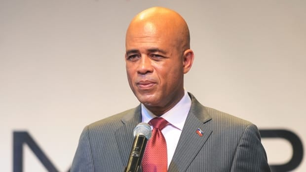 Michel Martelly at his first press conference after winning the March 20 run-off vote in Port-au-Prince on April 5.