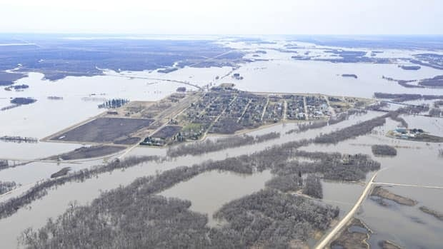 Flooded fields around the town of Emerson, Manitoba.