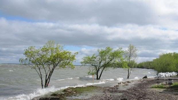 Flooding from Lake Manitoba at Oak Bay Lodge in the RM of Siglunes, near Ashern, Manitoba.