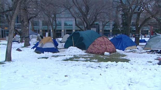 Around a dozen tents were still set up in Regina's Victoria Park earlier this week.