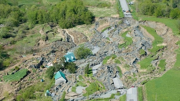 A landslide in Saint-Jude, Que. is shown from the air on May 11, 2010.