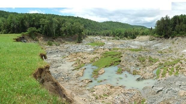 This 400-meter crater was caused by Leda clay in Notre Dame de la Salette, Que. after an earthquake shook Ottawa and West Quebec in 2010. Submitted photo