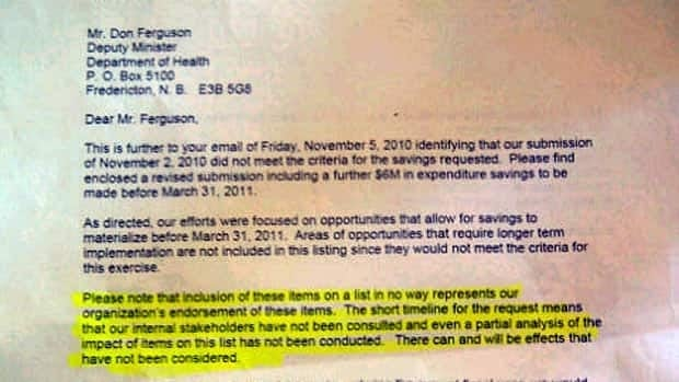 A letter from Donn Peters, the CEO of Horizon Health Network, that says he didn't have time to consult staff about budget cuts. (Jacques Poitras/CBC)