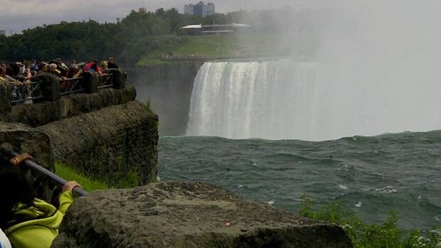 This image shows the spot on the Canadian side of Niagara River about 20 metres above the falls where a woman fell over the railing on Monday.