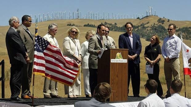 The groundbreaking ceremony of the Alta Wind Energy Center in July, 2010, in Mojave, Calif. When completed, the centre will be the largest wind power project in the world, generating up to 1,550 megawatts of wind energy.
