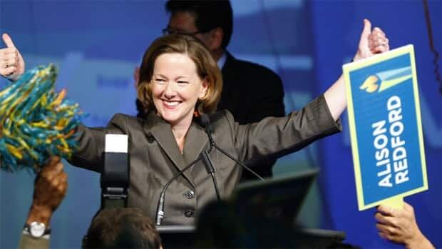 Alison Redford celebrates becoming Alberta Progressive Conservative leader and premier-designate after second ballot results are announced in Edmonton early Sunday morning.