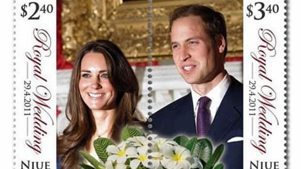 A stamp designed by New Zealand Post to commemorate the Royal Wedding features a perforated line, allowing Prince William and Kate Middleton to be torn apart into separate stamps.