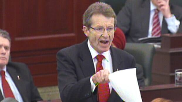 Alberta Liberal Leader David Swann shouts at Premier Ed Stelmach during question period at the Alberta legislature Monday.
