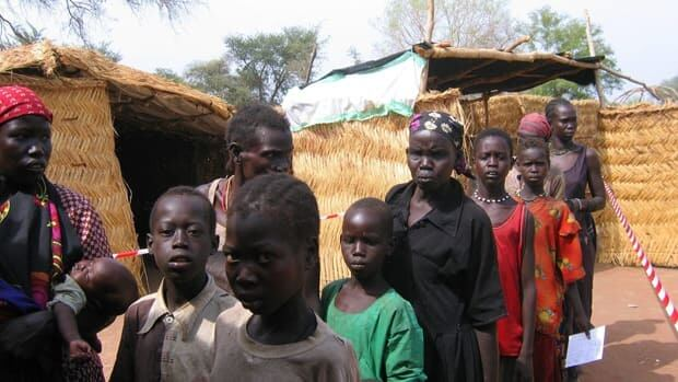 People line up for a measles vaccination by Medecins Sans Frontieres in southern Sudan in this file picture.