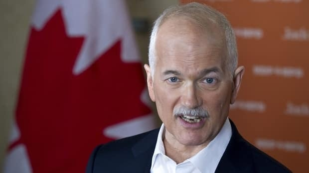NDP Leader Jack Layton responds to a question during a news conference on Saturday in Saskatoon.