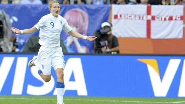 England's Ellen White celebrates after scoring against Japan on Tuesday.