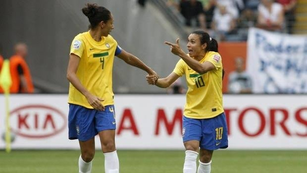 Brazil's Marta, right, is a five-time winner of the FIFA women's player of the year award.