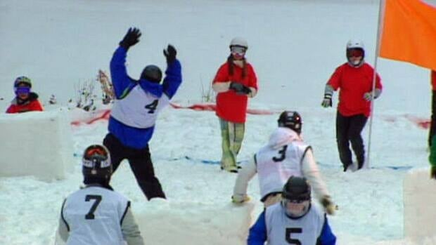 Players in a Yukigassen, such as this one in Saskatoon in January 2011, fling pre-made snowballs in an organized snowball fight to capture a flag. The first Canadian Yukigassen championship is being held this weekend in Edmonton.