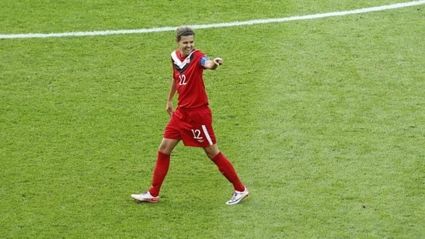 Canadian captain Christine Sinclair reacts after scoring against Germany at the FIFA Women's World Cup.