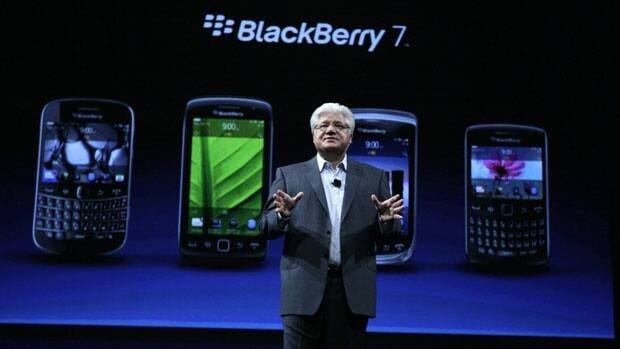 Mike Lazaridis, co-CEO of Research in Motion delivers the keynote address at the Blackberry DevCon Americas conference in San Francisco on Tuesday.