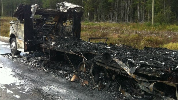 RCMP say this 1992 Ford was completely destroyed on Wednesday morning, about 15 kilometres east of Deer Lake.