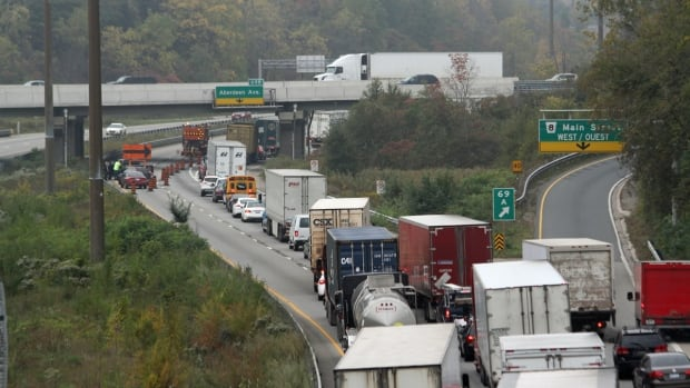 A fatal collision on the westbound 403 at Aberdeen Avenue created major traffic delays on Thursday, Oct. 10, 2013.
